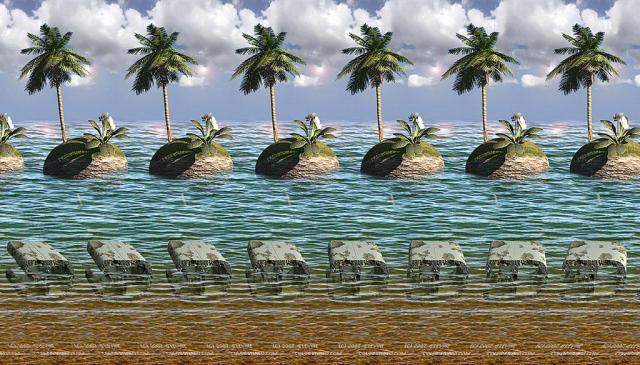 Стереокартинка с пальмами и морем