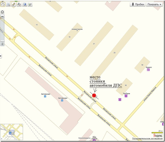 Схема нарушения ПДД экипажем ДПС в городе Чайковском Пермского края