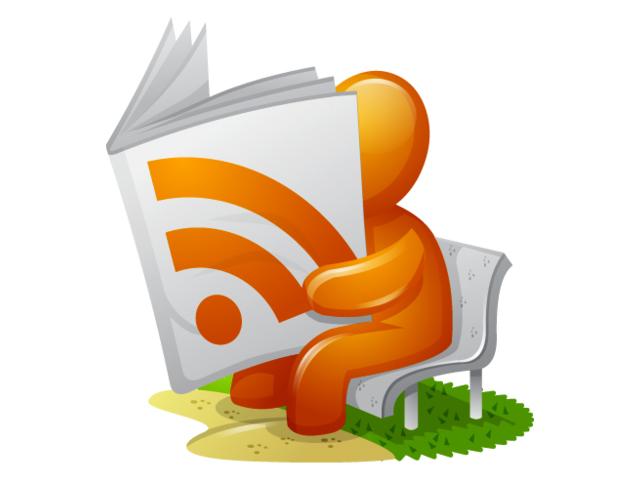 Человек читает книгу с логотипом RSS