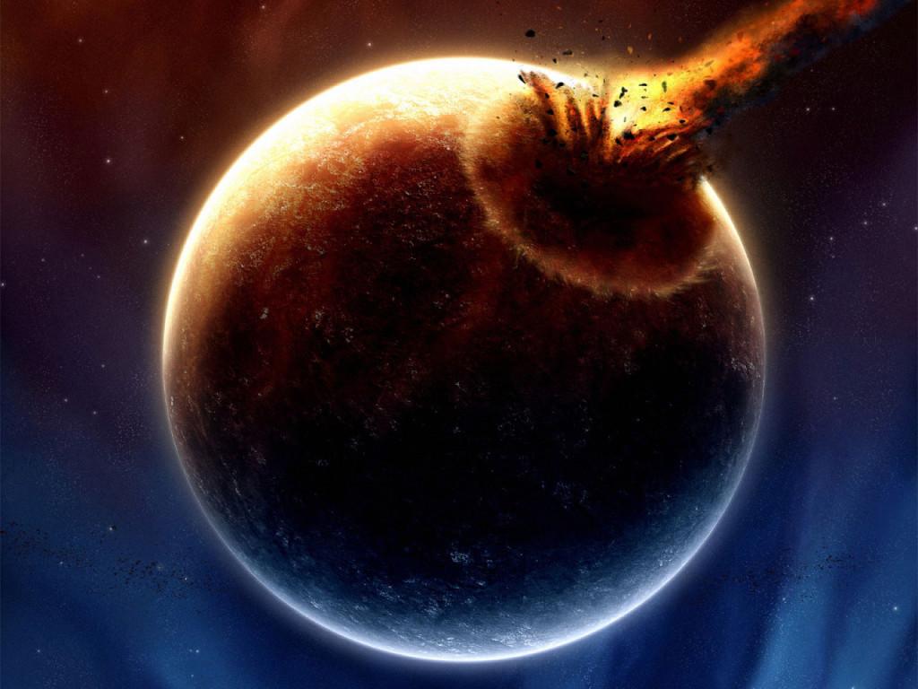 Метеорит врезается в землю
